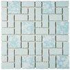 EliteTile Pallas Random Sized Porcelain Mosaic Tile in Blue
