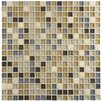 """EliteTile Sierra 0.625"""" x 0.625"""" Glass and Natural Stone Mosaic Tile in River"""