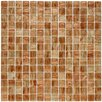 "EliteTile Fused 0.75"" x 0.75"" Glass Mosaic Tile in Tan and Gold"