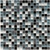 "EliteTile Sierra 0.625"" x 0.625"" Glass and Natural Stone Mosaic Tile in Tuxedo"