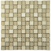 """EliteTile Sierra 0.875"""" x 0.875"""" Glass and Natural Stone Mosaic Tile in Sandstone"""