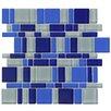 EliteTile Sierra Random Sized Glass Mosaic Tile in Magic Celeste