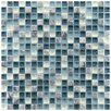 "EliteTile Sierra 0.625"" x 0.625"" Glass and Natural Stone Mosaic Tile in Gulf"