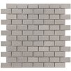 "EliteTile Vulcan 0.875"" x 1.875"" Metal and Porcelain Mosaic Tile in Silver"