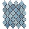 "EliteTile Arabesque 2-3/4"" x 1-7/8"" Porcelain Glazed Mosaic in Blue"