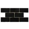 "EliteTile Tivoli 3"" X 6"" Ceramic Subway Tile in Nero"