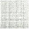 "EliteTile Sierra 0.88"" X 0.88"" Glass Mosaic Wall Tile in Ice White and Clear Melody"