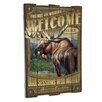 American Expedition Moose Wooden Cabin Sign Wall Décor