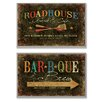 Stupell Industries Roadhouse Grill,  BBQ and Brew 2 Piece Wall Plaque Set