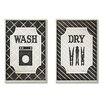 Stupell Industries Wash and Dry 2 Piece Black and White Laundry Wall Plaque (Set of 2)
