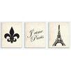Stupell Industries J'aime Paris Beige Textual 3 Piece Wall Plaque Set
