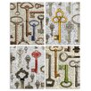 Stupell Industries Old Fashioned Keys on Newspaper by Irina Urteaga 4 Piece Graphic Art on Plaque Set