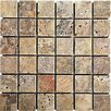 "Epoch Architectural Surfaces Scabos 2"" x 2"" Travertine Mosaic Tile in Multi"