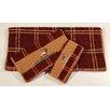 HiEnd Accents Elk Embroidered Plaid 3 Piece Towel Set