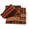 HiEnd Accents Elk Embroidered Stripe 3 Piece Towel Set