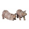 Creative Co-Op 2 Piece Resin Carved Pig Statue Set (Set of 2)