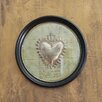 Creative Co-Op Chateau Square Framed Tin Heart with Vintage Letter Background Wall Décor