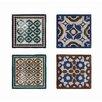 Creative Co-Op Morocco 4 Piece Square Stoneware Plate Set