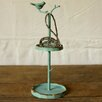 Creative Co-Op Cottage Pewter Wall Mounted Jewelry Holder with Bird