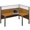 Bestar Pro-Biz Single Right L-Desk Workstation With 2 Melamine Privacy Panels and 2 Acrylic Glass Privacy Panels