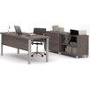 Bestar Pro-Linea 3-Piece U-Shape Desk Office Suite
