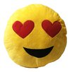 Creative Motion Smiley Face with 2 Heart Eyes Emoji Pillow