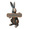 Transpac Imports, Inc Res Bronze Look Rabbit with Welcome Sign Wall Decor