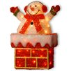 National Tree Co. Tinsel Snowman on Chimney Christmas Decoration with 40 Clear Lights