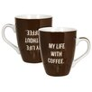 "R Squared Bonnie Marcus ""My Life Without Coffee"" Mug (Set of 4)"