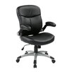 Office Star Products Eco Leather Executive Chair with Adjustable Padded Flip Arms