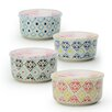 Signature Housewares Print 8 4-Piece Microwave Storage Serving Bowl Set