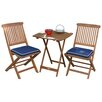 Outdoor Interiors 3 Piece Bistro Dining Set with Blue Cushions