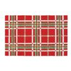 C & F Enterprises Christmas Collage Plaid Red Hooked Area Rug