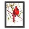 Americanflat Cardinal Bird by Suren Nersisyan Framed Painting Print