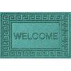 Bungalow Flooring Aqua Shield Greek Key Welcome Doormat