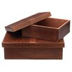 Jamie Young Company Tobacco Leather Frontera Boxes (Set of 2)
