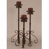 Coast Lamp Mfg. Rustic Living 3 Piece Iron Candlestick Set