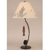 """Coast Lamp Mfg. Rustic Living Iron Fly Fishing Pole 33"""" H Table Lamp with Empire Shade"""
