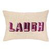 D.L. Rhein Laugh Embroidered Decorative Linen Lumbar Pillow