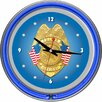 """Trademark Global Police Office 14.5"""" Double Ring Neon Wall Clock"""