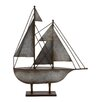 Woodland Imports Rustic Antique Styled Fascinating Metal Model Sailboat