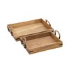 Woodland Imports 2 Piece Classy Wood Tray Set