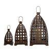 Woodland Imports 3 Piece Floral Patterned Fantastic Metal Lantern Set