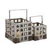 Woodland Imports 2 Piece Metal Lantern Set