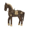 Woodland Imports Attractive Well Designed Wood Brass Horse Figurine
