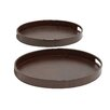 Woodland Imports 2 Piece Wood Real Leather Oval Tray Set