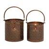 Woodland Imports 2 Piece Stunning Metal Lantern Set