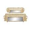 Woodland Imports 2 Piece Intricately Designed Rectangular Mirrored Serving Tray Set