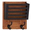 Woodland Imports Shiny Polished Wood Metal Wall Letter Holder