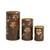 Woodland Imports Stunning 3 Piece Metal Candle Holder Set